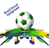 Soccer background with Brazil colors grunge splash colorful vect — Stock Vector