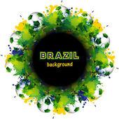 Beautiful Brazil flag concept circle splash grunge card colorful — Stock Vector