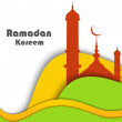 Vector Illustration of Mosque with colorful wave Ramadan Kareem — Stock Vector