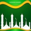Ramadan kareem beautiful mosque shiny green colorful wave vector — Stock Vector #48291267
