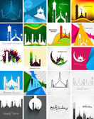 Mosque with colorful Ramadan Kareem collection card set presenta — Stock Vector