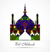 Eid mubarak card grunge colorful mosque vector background illust — Stock Vector