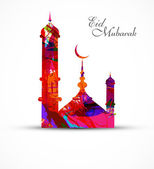 Mosque for grunge colorful eid mubarak card vector illustration — Stock Vector