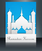 Mosque or Masjid with text Ramadan Kareem brochure reflection co — Stock Vector