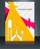 Mosque ramadan kareem brochure template creative concept reflect — Stock Vector