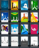 Mosque with colorful Ramadan Kareem collection colorful brochure — Stock Vector