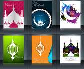 Mosque with colorful eid mubarak brochure reflection collection  — Stock Vector