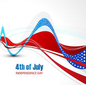 American flag independence day stylish wave whit background vect — Stock Vector