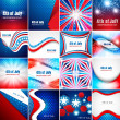 4th of july american independence day collection card set presen — Stock Vector #49203769