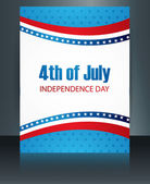 4th july american independence day template brochure wave vector — Stock Vector