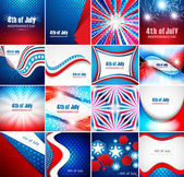 4th of july american independence day collection card set presen — Stock Vector