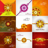 Beautiful Raksha bandhan celebration Presentation card set colle — Cтоковый вектор