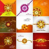 Hermosa bandhan raksha tarjeta celebración presentación establecido colle — Vector de stock