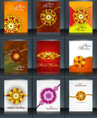 Beautiful raksha bandhan brochure template collection set reflec — Vector de stock