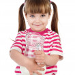 Little girl holding a jug with milk. isolated on white background — Stock Photo