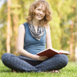 Young woman with book on green grass at park — Stock Photo #12329432