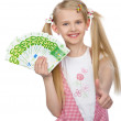 Little girl with money euro — Stock Photo