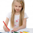 Stock Photo: Cute girl draw with colorful pencils.