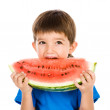Stock Photo: Boy holds water-melon.