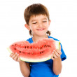 The boy holds a water-melon — Stock Photo
