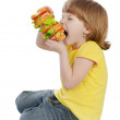 Girl Eating Sandwich. — Stock Photo