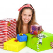 Stock Photo: Young woman with gifts . isolated on white background