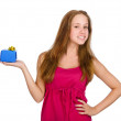 Stockfoto: Young girl giving present. isolated over white background