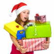 Santa girl holding christmas gifts. isolated on white background — Stock Photo
