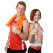 Handsome man and girl holding a bottle with water. isolated on white background — Stock Photo