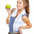 Girl with apple. isolated on white background — Stock Photo