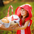 Mother hands over to the daughter a basket with food — Stock Photo