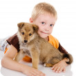 Boy embraces puppy. isolated on white background - Stockfoto
