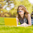 Stock Photo: College student lying down on the grass working on laptop at campus