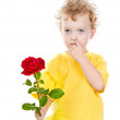Little boy giving flower. isolated on white background — Stock Photo