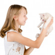Little cute girl with white kitten — Foto de stock #13838902