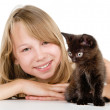 Little cute girl with black kitten — Stock Photo