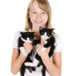 Foto Stock: Little cute girl with black kittens