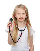 Girl with stethoscope in hand. — Stock Photo