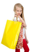 The smiling girl holding shopping bags — Stock Photo