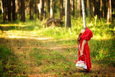 "The girl in the wood looks up. the fairy tale "" Red Riding Hood"" — Stock Photo"