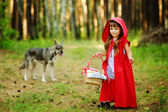 The wolf pursues the girl. — Stock Photo