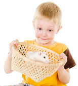 Boy and mouse. isolated over white background — Foto de Stock