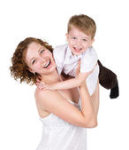Mother and little boy. isolated on white background — Stock Photo