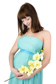 Beautiful pregnant woman in blue dress. isolated on white background — Stock Photo