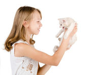 Little cute girl with white kitten — Stock Photo