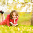 Royalty-Free Stock Photo: Young nice attentive woman lies on green grass and reads book against city park