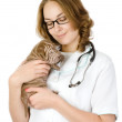 Beautiful veterinarian with puppy sharpei dog — Foto Stock