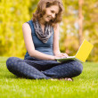 College student on the grass working on laptop at campus — Stock Photo