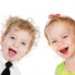 Two laughing children.looking at camera — Stock Photo