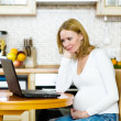 Foto Stock: Pregnant womrelaxing with her laptop in her kitchen